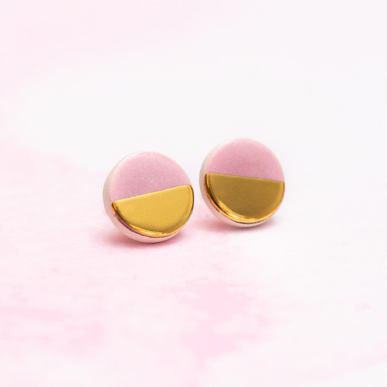 Pozłacane kolczyki różowe <strong>SIMPLY</strong>